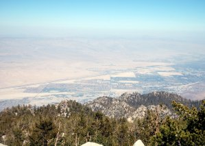 Looking down on N Coachella Valley and N Palm Springs from summit of Mt SJ