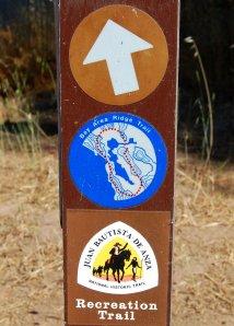 Sample Sign Post Bay Area Ridge Trail and De Anza Trail