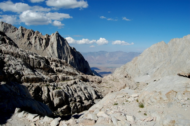 Mt Whitney Trail looking down to the Owens Valley
